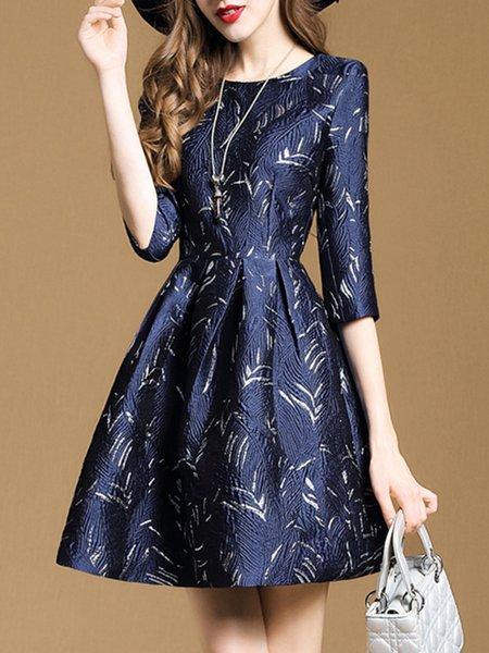 Royal Blue Crew Neck A-line Folds Elegant Midi Dress