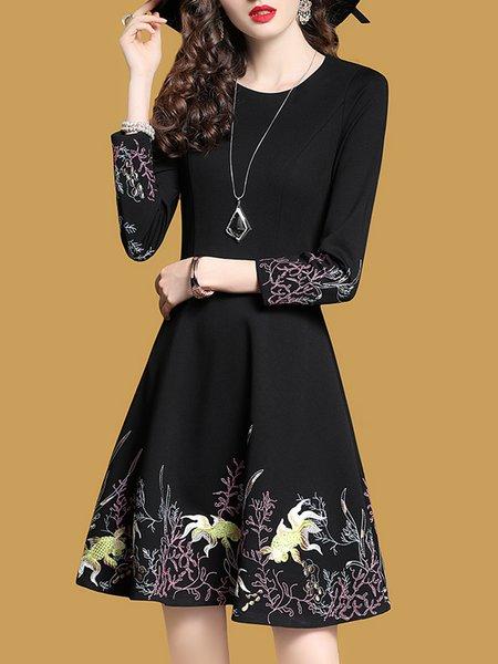 Black Elegant Crew Neck Floral A-line Midi Dress