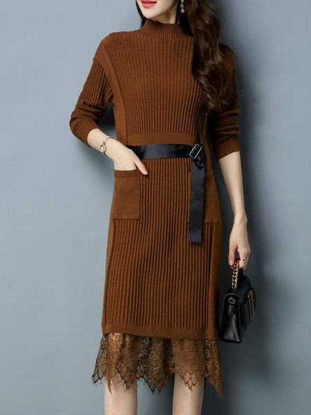 Paneled Long Sleeve Casual H-line Sweater Dress