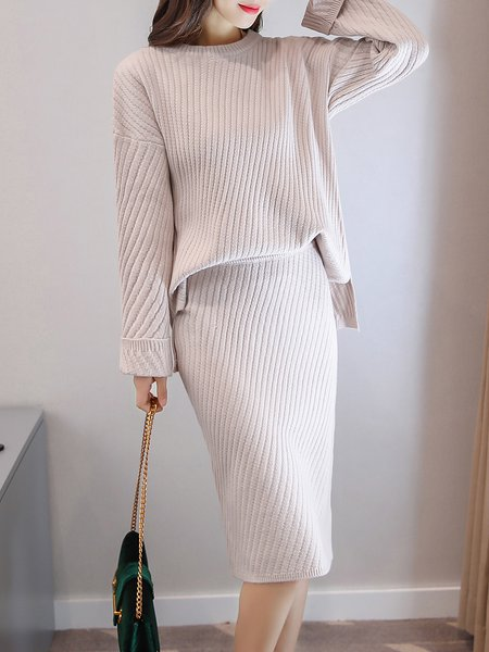 Apricot Solid Knitted Long Sleeve H-line Top With Skirt