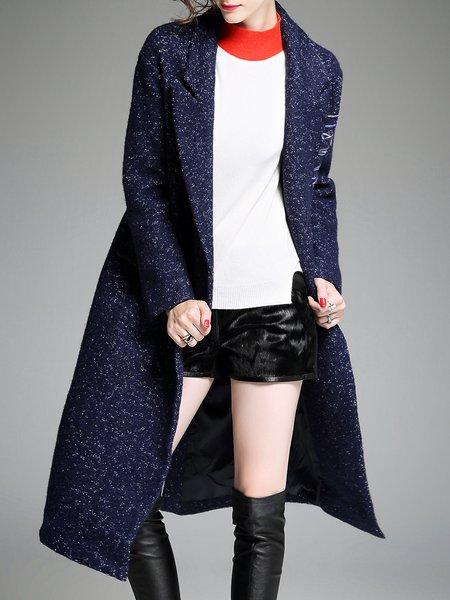 Slit Long Sleeve A-line Lapel Casual Coat