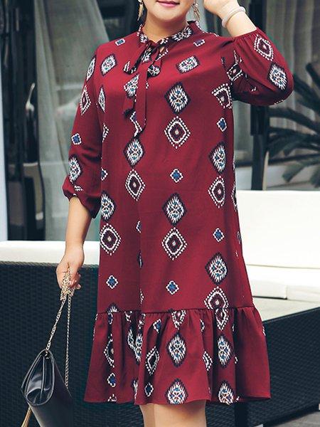 Multicolor Casual Tie-neck Ruffled Geometric Midi Dress