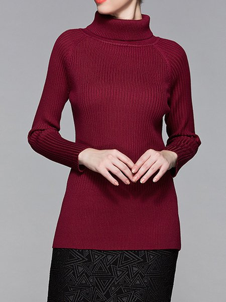 Knitted Solid Casual Turtleneck Long Sleeve Sweater