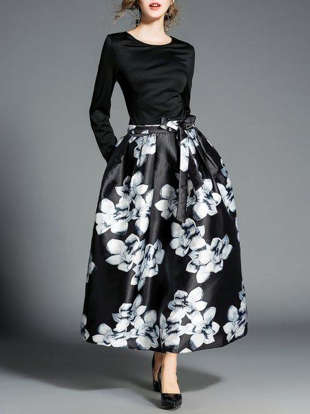 Black Printed A-line Long Sleeve Maxi Dress
