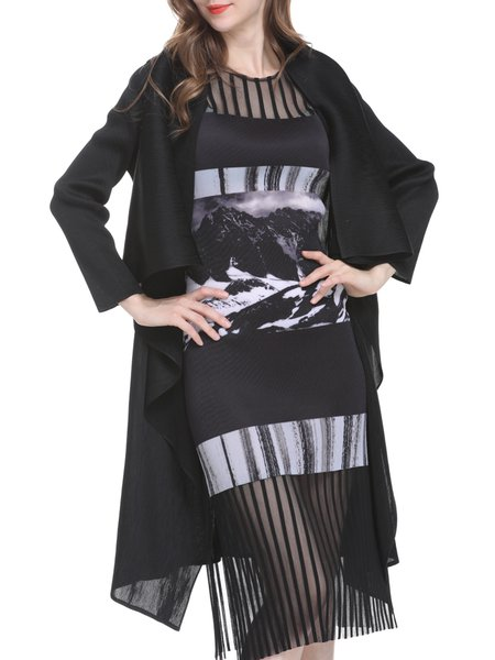 Plus Size Black Pleated Solid Casual Shawl Collar Coat