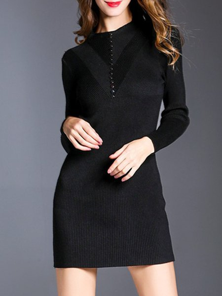 Black Knitted Solid Crew Neck Casual Sweater Dress