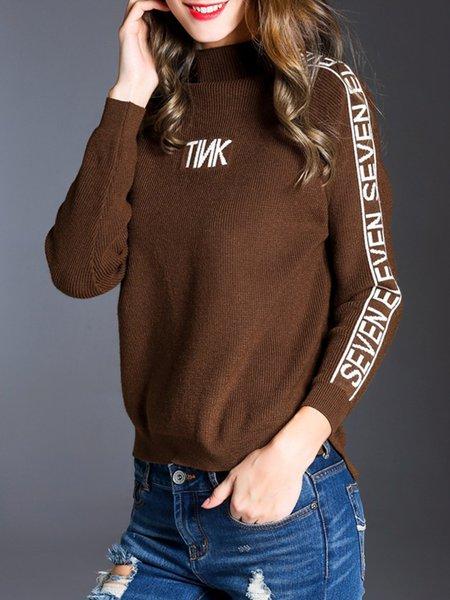 Coffee Letter Slit Long Sleeve Sweater