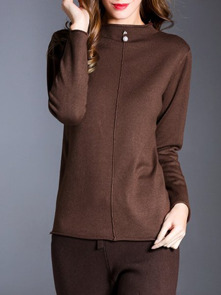 Casual Stand Collar Long Sleeve Solid Beaded Sweater