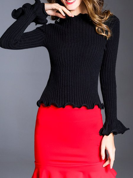 Black Solid Ruffled Knitted Frill Sleeve Sweater