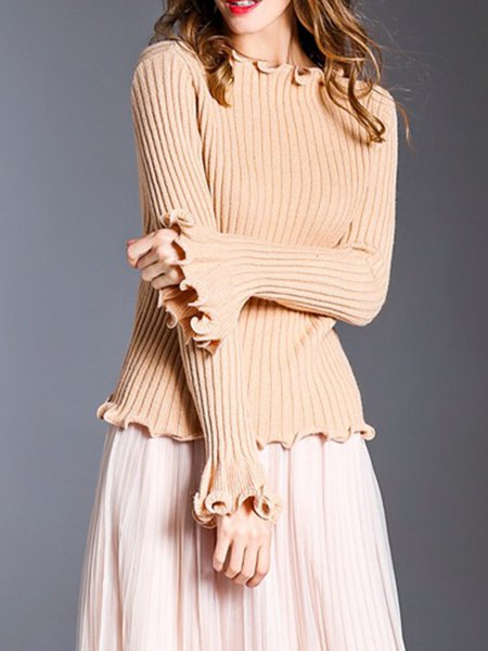 Frill Sleeve Knitted Ruffled Casual Solid Sweater