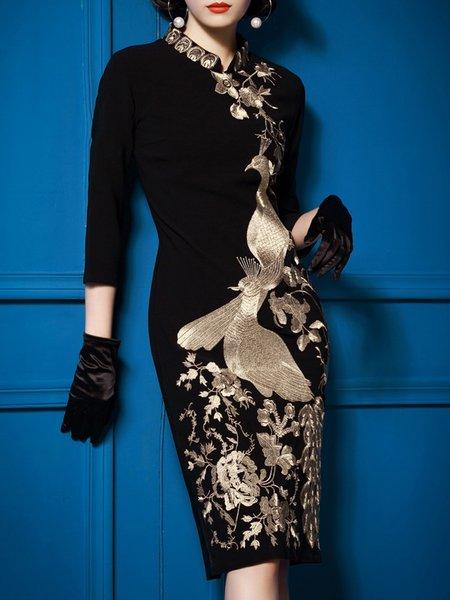 Stand Collar Black Midi Dress Sheath Daytime 3/4 Sleeve Embroidered Dress