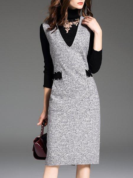 Slit Elegant V Neck Solid Sleeveless Midi Dress