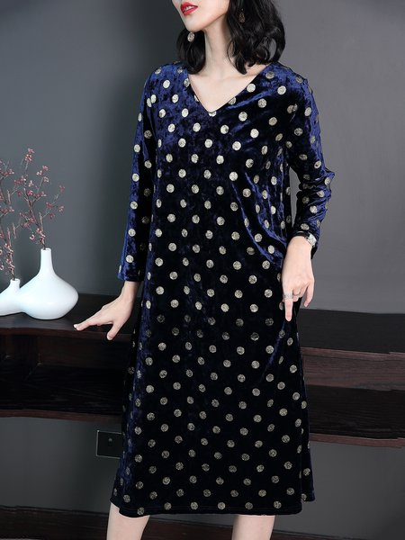 Blue V Neck Shift Polka Dots Casual Midi Dress