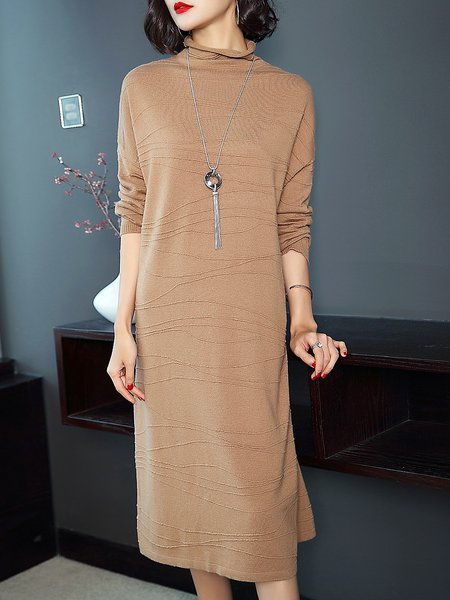 Plus Size Casual Ribbed Long Sleeve Solid Midi Dress