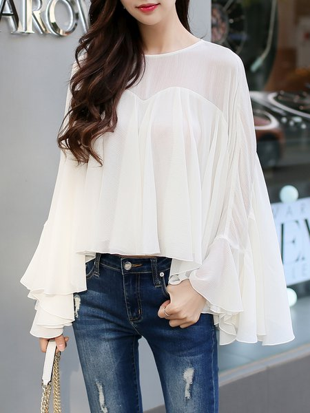 Solid Frill Sleeve Girly Ruffled Crew Neck Blouse