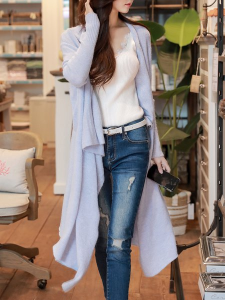 Casual Long Sleeve Solid Knitted Cardigan