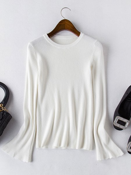 Bell Sleeve Ribbed Casual Sweater