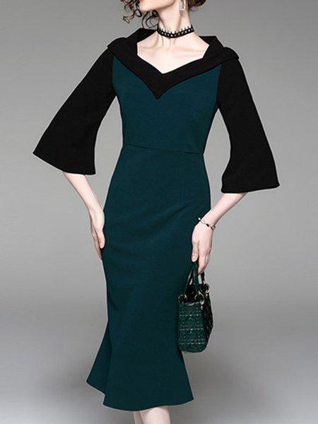 Green Elegant V Neck Paneled Midi Dress