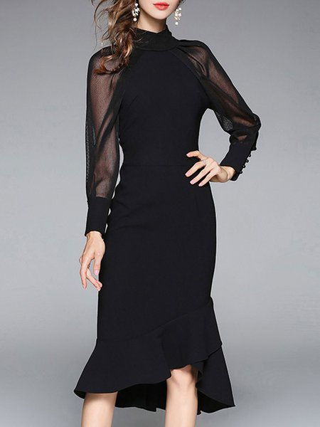 Black Elegant See-through Look Stand Collar Midi Dress