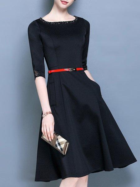 Crew Neck Elegant Guipure Lace Solid Half Sleeve Midi Dress