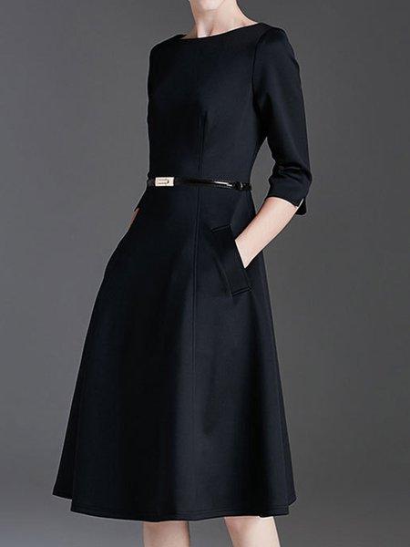 Black A-line Crew Neck Solid Elegant Midi Dress