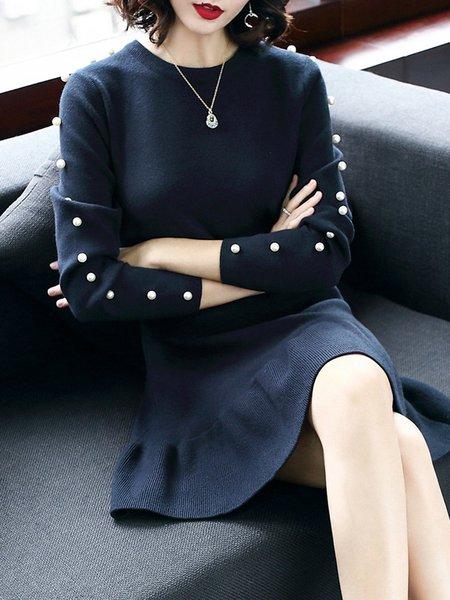 Plus Size Navy Blue Solid Beaded Long Sleeve Flounce Sweater Dress