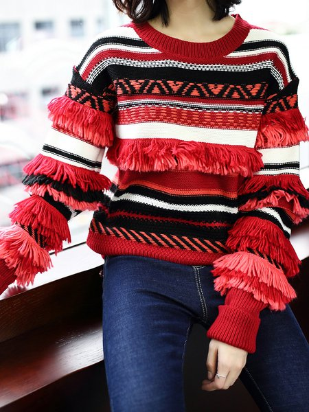 Plus Size Casual Paneled Knitted Long Sleeve Sweater