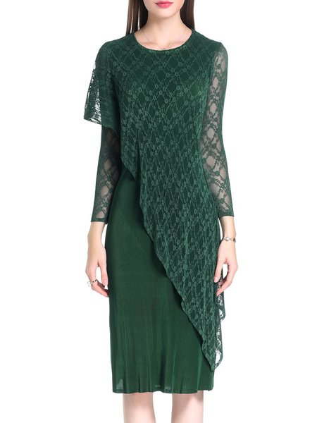 Plus Size Green Solid Asymmetrical Long Sleeve Midi Dress