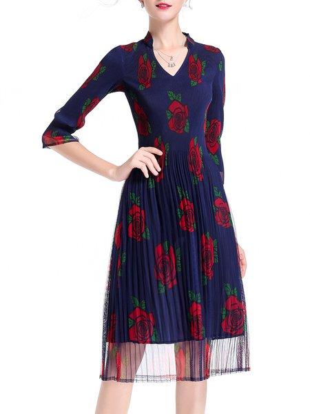Plus Size Navy Blue Elegant A-line V Neck Chiffon Dress
