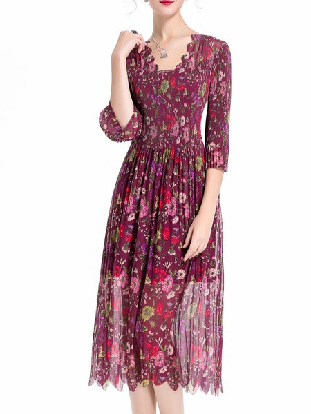 Burgundy Pleated Casual Floral Midi Dress