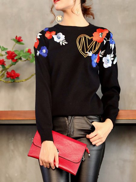 Plus Size Black Floral-embroidered Long Sleeve Sweater