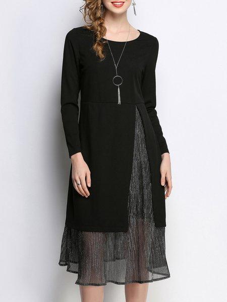 Plus Size Black Casual Shimmer Midi Dress