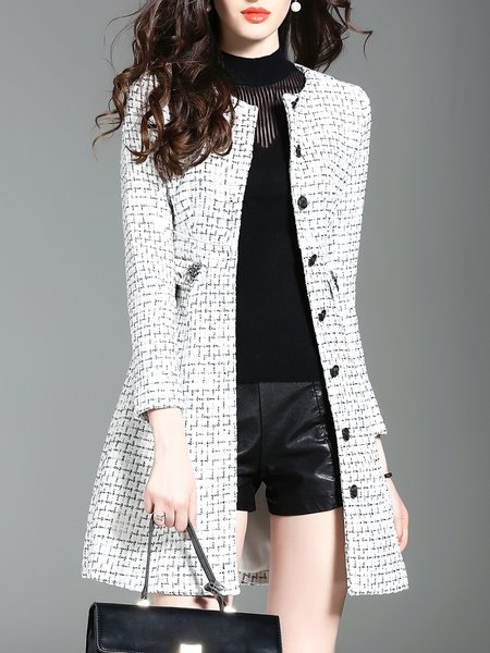 Casual Checkered/Plaid Crew Neck Pockets Long Sleeve Coat
