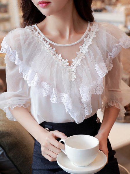 Appliqued Crew Neck Ruffled See-through Look Solid Girly Frill Sleeve Paneled Blouse