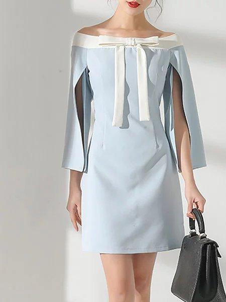 Light Blue Sweet Slit Sleeve Bow Statement Mini Dress