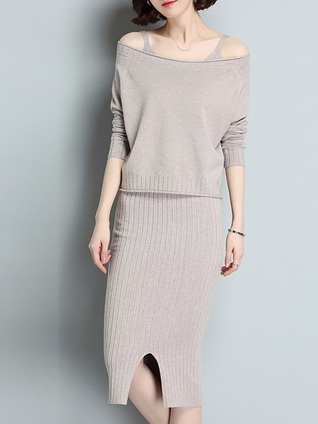 Knitted Batwing Casual Two Piece Outfits