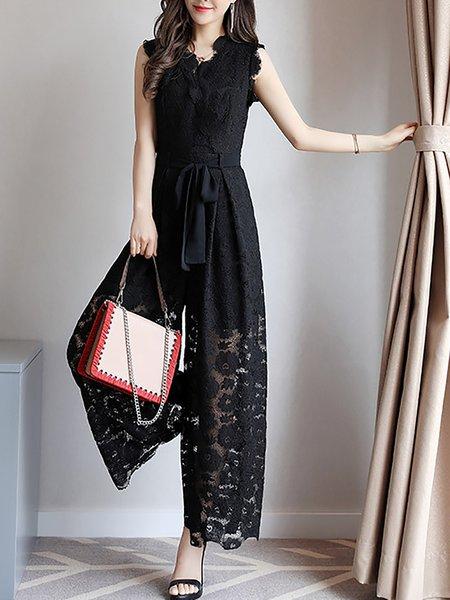Black Lace Elegant Folds Jumpsuit