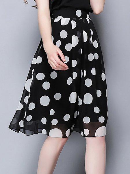 Black Work Polka Dots Chiffon A-line Midi Skirt