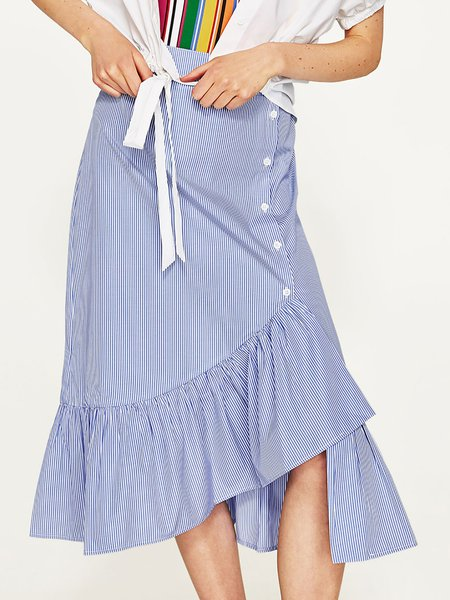 Light Blue Stripes Asymmetrical Casual Midi Skirt