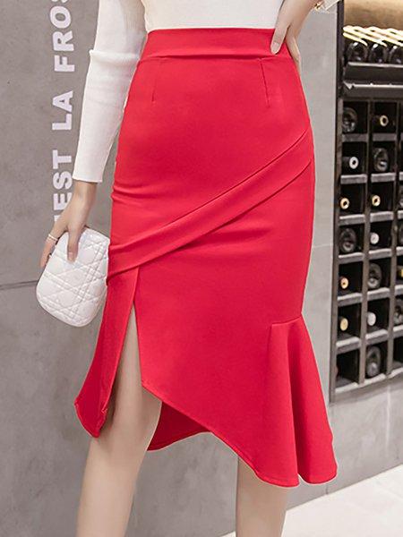Elegant Asymmetric Solid Midi Skirt