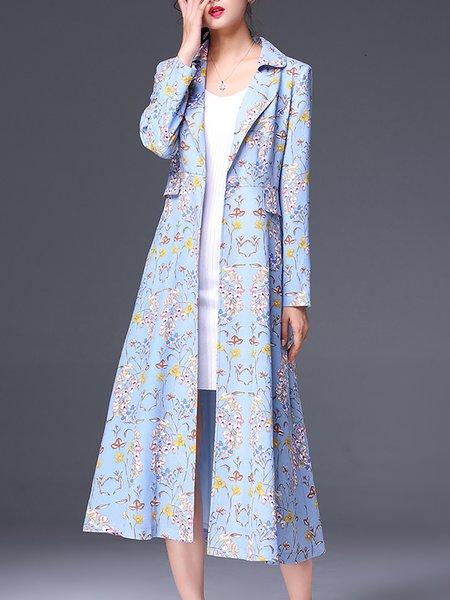 Light Blue Printed Floral Elegant Trench Coat