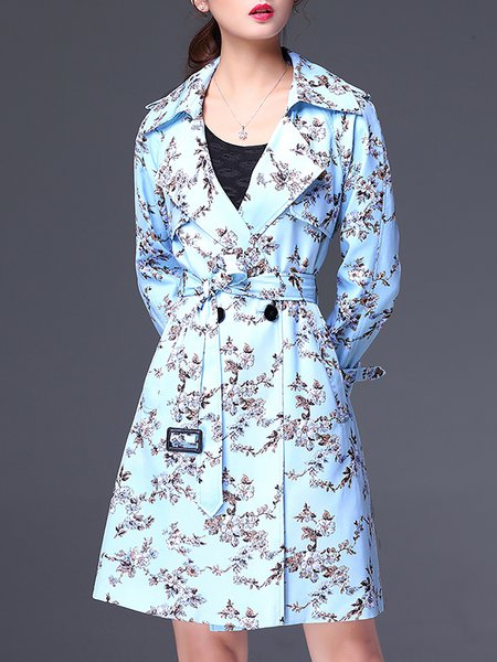 Light Blue Floral Printed Trench Coat