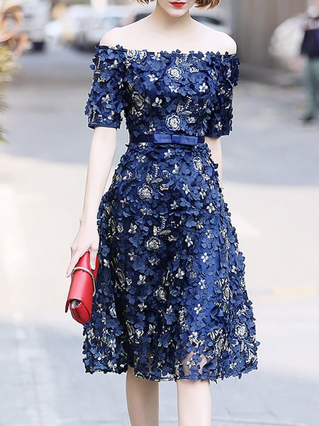 Off Shoulder Royal blue Midi Dress A-line Party Short Sleeve Floral Dress
