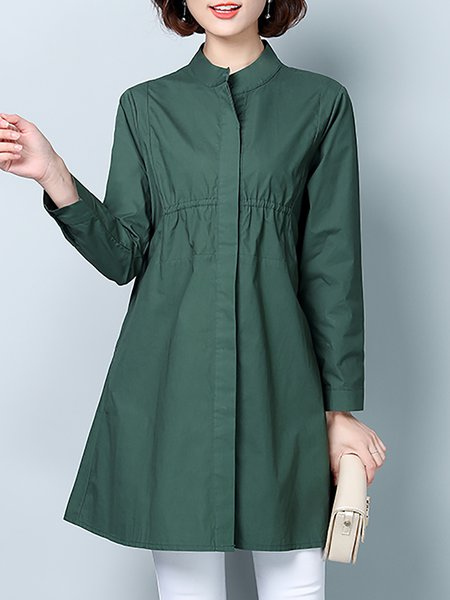 A-line Casual Long Sleeve Trench Coat