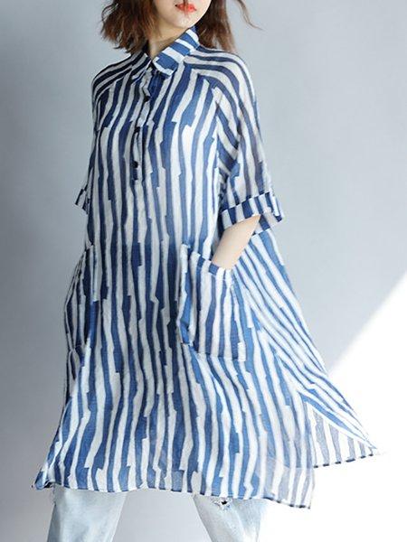 Shirt Collar Blue Linen Dress Shift Daytime Cotton Slit Dress