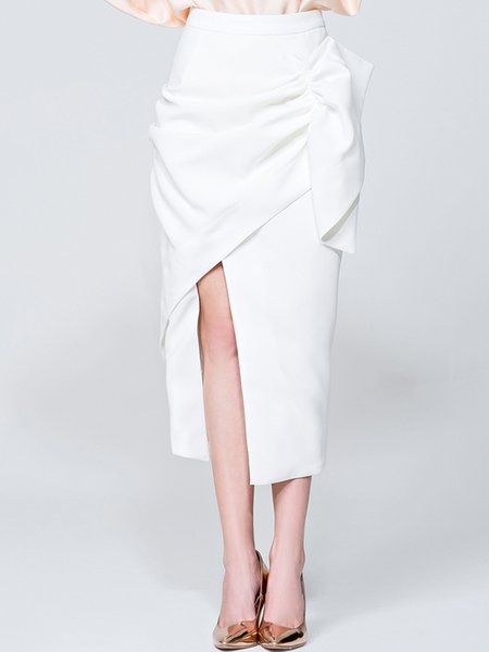 Solid Asymmetric Ruffled Midi Skirt