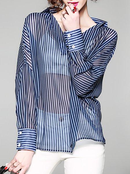 Daytime Chiffon Casual Striped Blouse