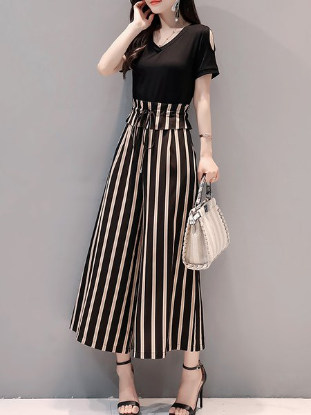 Black Bow Daily Casual Striped Jumpsuit