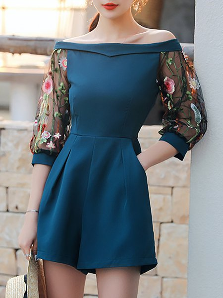 Daily Off Shoulder Embroidered Romper