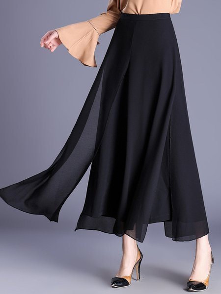 Daily Slit Casual Chiffon Tiered Solid Wide Leg Pants